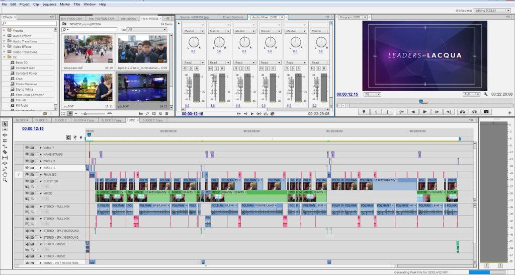 Editing 'Leaders with Lacqua' on Adobe Premiere Pro